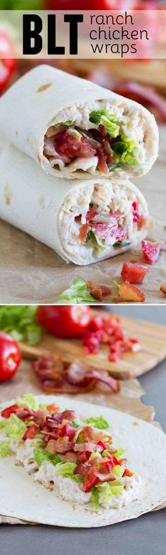 An easy lunch or picnic idea, these BLT Ranch Chicken Wraps, made with only 6 ingredients, come together in a snap and always a family pleaser.