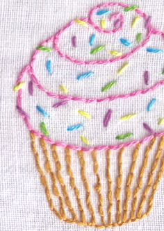 Cupcake with Sprinkles Hand Embroidery Pattern by ravenfrog on Etsy https://www.etsy.com/listing/177131384/cupcake-with-sprinkles-hand-embroidery