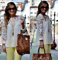 2014 de nuevo y caliente! Blanco azul/negro/amarillo las mujeres cordón manga chiffion de blusas y tops emboriey magnífico camisas de manga larga bordado