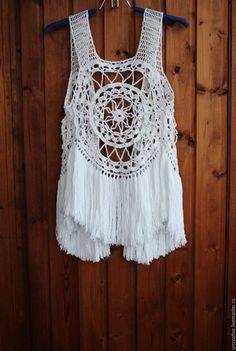 Купить Вязаная жилетка с бахромой - белый, рисунок, летняя одежда, жилетка, вязаная жилетка