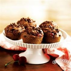 Cherry Chocolate Muffins from Pillsbury® Baking Muffin Pan Recipes, Crisco Recipes, Our Daily Bread, Cake Bars, Just Cakes, Chocolate Muffins, Chocolate Cherry, Round Cakes, Sweet Recipes