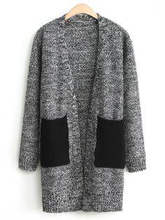 Black White Long Sleeve Contrast Pockets Cardigan GBP£21.65
