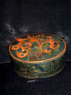 """Norwegian's brides box with acantus decoration on black background. A heavy and solid box.Dated 1737 Initialed """"KTD"""". 6 1/2in by 15in"""