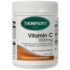 Thompsons Vitamin C Chewable 1000mg tablets contains readily absorbed vitamin C and bioflavonoids. Thompsons Vitamin C is a powerful antioxidant, gentle on the stomach and pleasant orange flavour.