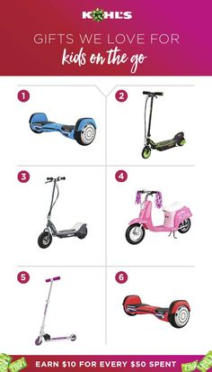 Have a little mover and shaker at home? We've got the perfect gift idea! Kids on the go love Razor Scooters, and you'll love that you earn Kohl's Cash on them. That's right! New wheels for them and a little something for you to spend on, well, you! Shop Razor Scooters at Kohl's.