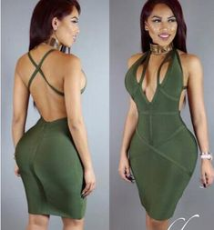 New Women s Sexy V Neck Backless Green Black Red Green Bodycon Bandage Dress  Elegant Party Dress dc6524a5e