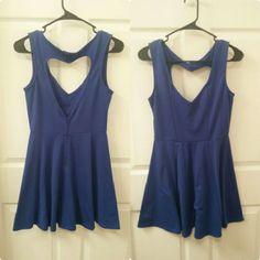 Royal Blue Skater Mini Dress With Heart Back