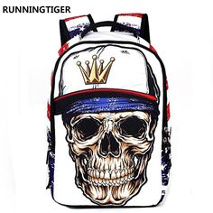 RUNNINGTIGER Brand Large Capacity Laptop Backpack Printing 3D Skull Heads School Bags For Teenagers Boys Men Travel Mochila