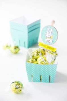 Adorable idea for Easter party treats! All stamps, dies, and card stock by A Muse Studio. Berry Box die, Somebunny Loves You stamp set, Somebunny Loves You die set, Petite Polka Dot card stock in Bermuda. #cas #diy #stamping #handstamped #papercrafts #cardideas #amusestudio #spring #happyeaster #happyspring