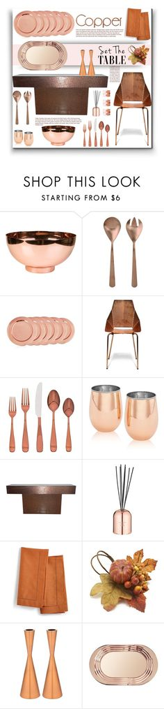 """Copper-toned Table"" by fassionista ❤ liked on Polyvore featuring interior, interiors, interior design, home, home decor, interior decorating, canvas, Old Dutch, Blu Dot and Cambridge"