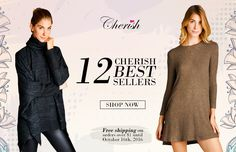 Don't miss this offer from Cherish!  Free shipping on ALL ORDERS until 10/16!    #fashiongo #wholesale Fall Collections, Best Sellers, Shop Now, Free Shipping, Shopping