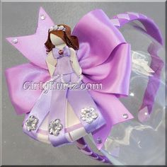 Sofia the First Headband Sofia Hair Clip Sofia Hair Bow Sofia the First Ribbon Sculpture Hair Clip