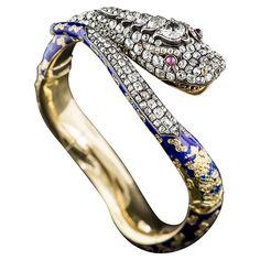 Victorian Enamel Diamond Gold Snake Bangle Bracelet | From a unique collection of vintage bangles at https://www.1stdibs.com/jewelry/bracelets/bangles/