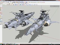 SketchUpでデジタルプラモ: ガミラス侵攻前架空宇宙戦艦:USA艦進捗報告-2