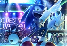 Sonic, Shadow, and Silver rocking out in their concert. Who would go? I know I would :D