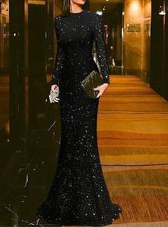 Elegant Black Round Neck Long Sleeves Evening Dress, Mermaid Formal Gown by olesaweddingdresses, $156.28 USD Evening Dresses With Sleeves, Women's Evening Dresses, Prom Dresses, Sexy Dresses, Long Sleeve Formal Dress, Summer Dresses, Dress Long, Wedding Dresses, Sparkly Dresses