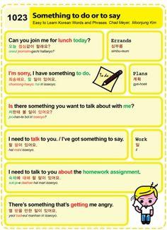 Easy to Learn Korean 1023 – Something to do or say.   Easy to Learn Korean (ETLK)