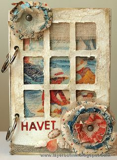 Layers of ink - Crackle Window Album Tutorial, made with Eileen Hull's Sizzix dies, Crackled Paste by Wendy Vecchi and Graphic 45 papers.