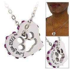 Love You Big Crystal Heart & Paw Print Necklace - Every Purchase Funds Food and Care for Rescued Animals.