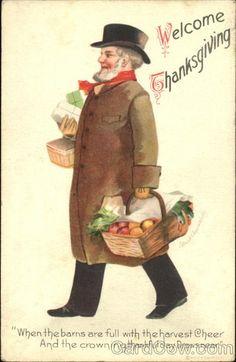 Clapsaddle artwork Thanksgiving Postcard Man Carrying Food and Thanksgiving Blessings, Thanksgiving Cards, Holiday Cards, Holiday Decor, Thanksgiving Pictures, Vintage Thanksgiving, Vintage Cards, Vintage Images, Vintage Ephemera