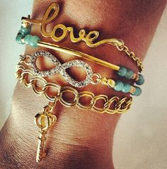 Trendy Bracelet Stack / Arm Candy / Rhinestone Infinity, Skeleton Key, Love, Gold Bar, Green Aventurine