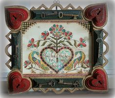 OOAK Key to my Heart Fraktur in heart tramp art frame with vintage keys.