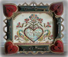 OOAK Key to my Heart Fraktur in heart tramp art frame with vintage keys.