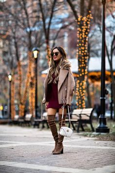 28 NOV, 2017 Favorite Sweater Dresses Under $100 - Outfit Details: Nordstrom Burgundy Sweater Dress H&M Biker Jacket Stuart Weitzman Over-The-Knee Boots Karen Walker Sunglasses Gucci Marmont Mini Bag