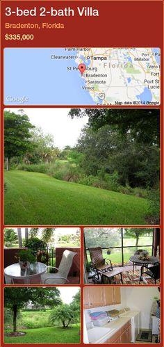 3-bed 2-bath Villa in Bradenton, Florida ►$335,000 #PropertyForSaleFlorida http://florida-magic.com/properties/41980-villa-for-sale-in-bradenton-florida-with-3-bedroom-2-bathroom