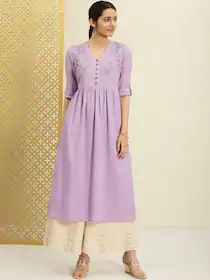 House of Pataudi Women Purple Embroidered A-Line Kurta