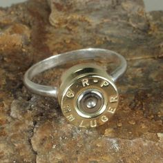 Bullet Ring   RP 9mm Luger Sterling Silver Band SIZE 6 by ShellsNStuff,