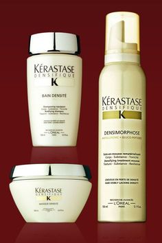 This new line thickens and adds density to hair by treating the scalp. Used in conjunction, the three products—a bodifying shampoo, replenishing mask, and thickening mousse—leave hair fuller and softer. Densimorphose Mousse, $42; Bain Densité, $39; and Masque Densité, $63; kerastase-usa.com