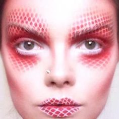 airbrush make up, red and white makeup