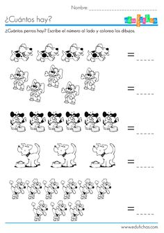 ¿Cuántos hay? Ficha con dibujos para aprender a contar con dibujos de perritos. Escribe el número al lado de cada uno de los ejercicios. Actividades.