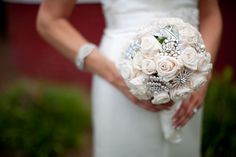 Pretty Mix of Preserved Roses & Crystal Brooches in this Bridal Bouquet- Southern Broochery