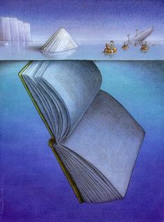 50 illustrations that cleverly describe the fascination of books. Illustration by Pawel Kuczynski. You are in the right place about global warming Satire Here we offer you the most beautiful pictures Satire, I Love Books, Books To Read, Amazing Books, Satirical Illustrations, Reading Art, Reading Room, What Book, World Of Books