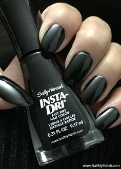 Black Nail Polish, Happy Nails, Everything Is Fine, Sally Hansen, Natural Nails, Beauty Nails, Nail Colors, Swatch, Nail Art