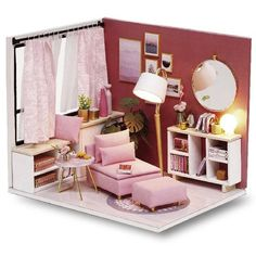Pink Happy Time DIY Doll House - Furnished Miniature House w/ Dust Cover - Wooden Dollhouse Toys for Pink Living Room Furniture, Wooden Dolls House Furniture, Miniature Furniture, Dollhouse Furniture, Home Furniture, Dollhouse Toys, Wooden Dollhouse, Dollhouse Miniatures, Wooden Diy