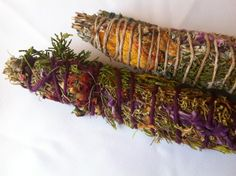 Healing herbal incense ~ simple homemade alternative! Choose your favorite dried herbs, wrap with twine, and light to create an aromatic, cleansing incense alternative. Be careful not to burn the whole thing, but rather light one end and then blow out the flame. Great homegrown alternative to burning sage or incense! The smoke is uplifting and can clear bad energy out of a room.
