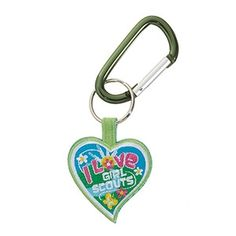 """Two-Sided Carabineer Key Ring.  Show your Girl Scout pride with this heart key ring. Multi-color, two-sided embroidered emblem with """" I Love Girl Scouts"""" on one side and green trefoil on reverse side."""
