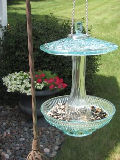 Bird Feeder Made with RePurposed Glassware by gardenforgetmenots