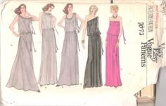 Vogue  7073 1970s Misses Evening  Dress Pattern One by mbchills