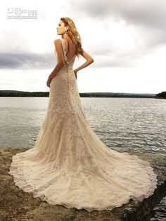 Wholesale 2013 New Sexy Backless Beach Wedding Dresses Sheath / Column Floor Length Monarch / Royal Applique Lace Beads Sleeveless Waist Tulle 257244, $211.68-225.12/Piece | DHgate