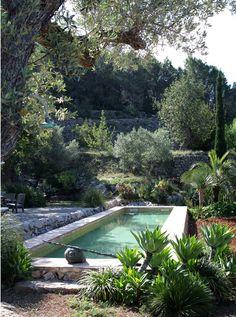 """Artist's house in Ibiza Spain.  La piscina, """"incastonata"""" come una fontana, conferisce nobiltà e ricchezza al grande giardino."""