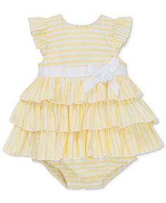 85446b9a759e Little Me Striped Skirted Cotton Romper