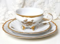 Vintage teacup trio german tea cup trio - shabby chic gold