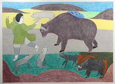Chased by a Muskox (c.1998) by Victoria Mamnguqsualuk, Inuit artist (F61002)