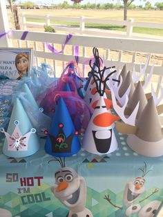 Darling, unique Frozen theme party hats are sure to please the littlest Party guests! These beautiful, one-of-a-kind Frozen themed Party Hats are inspired by the incredibly popular movie, Frozen. Choose from Elsa, Anna, Olaf and Sven! This listing includes 6 hats. If you have a different preference or need more, please message me directly so that I may set up a custom order for you. Hats are approx. 6 1/2 inches in height and are completely handcrafted using premium quality cardstock…