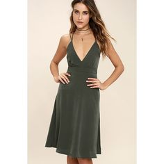 Ambiance Olive Green Midi Dress ($54) ❤ liked on Polyvore featuring dresses, green, woven dress, olive dress, green dress, military green dress and spaghetti strap dress