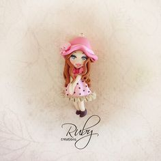 #rubydoll #sarahkay #polymerclay #clay #fimo #necklace #pendant #jewelry #handmade #handcrafted #craft #pink #hat #blueeyes #unique #rubycreations